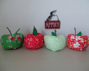 Decorative floral fabric apples, teacher's gift, home decoration, floral fabric, decorative apples, felt.