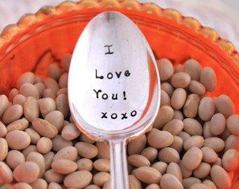 Stamped Spoon Vintage LOVE GIFT - I love you xoxo - Anniversary 1923 - Ready To Ship & Made in USA - Gift Under 20
