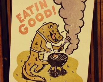 EATIN' GOOD - Woodcut Art Print