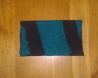"Antique kimono fabric - Shibori, Black/Sea green, Diagonal/Sayagata (H59"":W12.7"")"