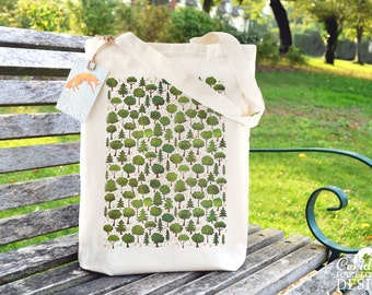 Woodland Trees Tote Bag, Reusable Shopper Bag, Cotton Tote, Ethically Produced Shopping Bag, Eco Tote Bag, Stocking Filler