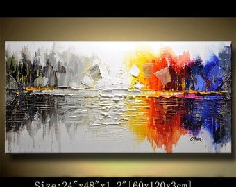 Abstract Wall Painting, expressionism Textured Painting,Impasto Landscape Painting  ,Palette Knife Painting on Canvas by Chen 0522