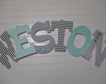 "WESTON - 12.00 PER letter - 8-1/2"", teal, gray, black, black chevron, teal and gray nursery"