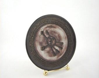 Mid Century Modern Glit Lava Pottery Plate, Iceland, Atomic, Mod, 1970s