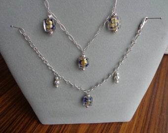 Murano glass beads / .925 silver set / necklace, earrings, bracelet.