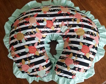 Nursing cover boppy cover slip cover baby pillow cover Floral Minky Ruffle