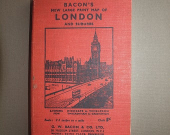 """Bacon's Map of London book  29"""" x 36"""" London and suburbs map linen - backed great for hanging with street index gift for London fan traveler"""