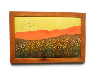 Framed textile Art Wall hanging Embroidery picture