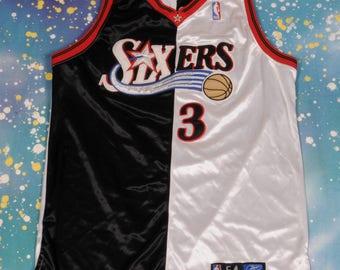 Philadelphia 76ers SIXERS #3 Reebok Iverson Baseball Jersey Size 54
