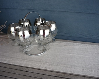 Vintage Silver Ombre Footed Cocktail Glass Set, Set of 6 Glasses with Chrome Caddy, Mid Century Modern Barware