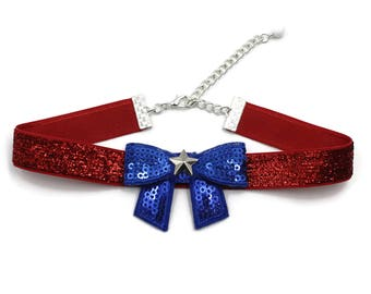 Patriotic Women Choker Necklace in American Flag Colors, Glittery Red, Blue & White Accessory - Independence, Memorial Day, 4th of July, USA