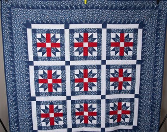 Red White and Blue Quilted Wall Hanging or Lap Quilt