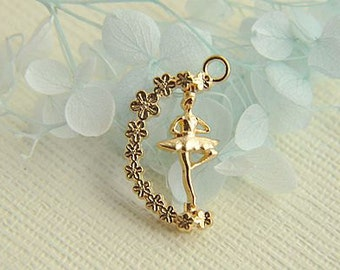 8pcs  gold  alloy  spiral ballet girl   pendant accessories