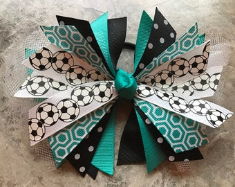"Soccer Bow - Soccer Ponytail - Soccer Hairbow - team bow - soccer ribbon - soccer hair tie - team - streamer - ""blue lagoon"" - Teal Green"