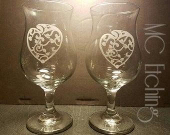 Art Deco Heart Glasses