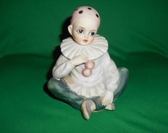 One (1), 1982, Porcelain Clown Figurine, Music Box, from Seymour Mann.
