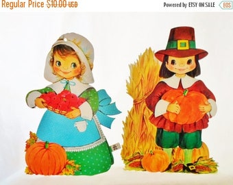 ON SALE Vintage Die Cut Thanksgiving Decorations, Pilgrim Boy & Girl, Autumn, Wall Hanging Decoration, Carrington, Made In USA, Paper, Cardb