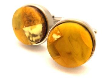 Amber Baltic Cufflinks Genuine Vintage 15.76 Gr Light Yellow Egg Yolk Color Old Nizilber