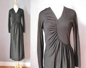 Black Maxi dress / Vtg 70...