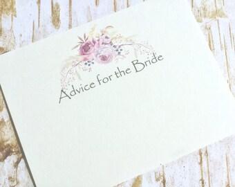 Advice for the bride cards, bridal advice cards, advice for the bride to be, guest book rustic bridal shower mason jar