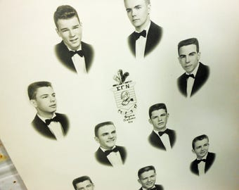 Vintage 1950s Fraternity Group Photo, Sigma Gamma Nu