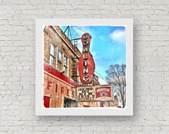 """Logan Square Chicago Vintage Sign Photography Print """"Fireside Bowl"""" 8x8 square photo"""