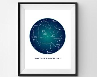 Northern Polar Sky Printable | Northern Sky Art Print | Constellation Printable | Constellation Art | Constellations | Printable Art | Stars