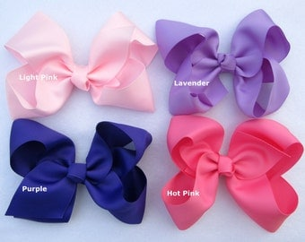 Boutique Bow Choose from 15 Colors Big Bow Large 6 Inch Big Bow Wide Grosgrain Ribbon Girl Hair Bow Loopy Bow Accessory Ready to Ship