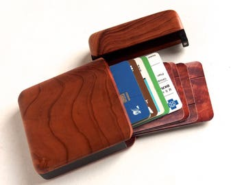 Redwood Wood Wallet and Business Card Holder
