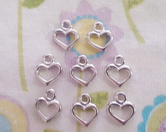 Set of 8 Petite Open Heart Charms