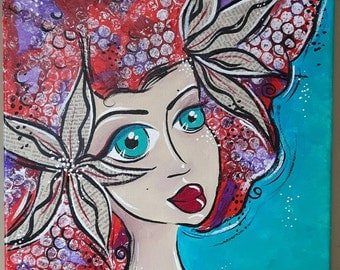 "Mermaid Hair - Original Mixed Media Painting OOAK 12""x12"""