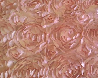 Satin Petal Rosette Pink 52 Inch Fabric by the Yard - 1 yard
