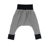 Sale Classic Harem Pants Black & White Stripe with Black Waistband and Cuffs.