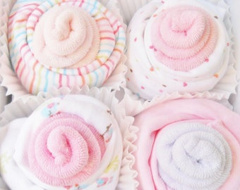 Baby Shower Gift, Baby Girl Gift, Baby Girl Washcloth Cupcakes