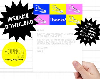 Printable 80s party thank you cards INSTANT DOWNLOAD