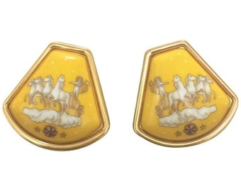 MINT. Vintage Hermes cloisonne golden earrings with prince and carriage, horse design in yellow. The Little Prince. Great gift idea