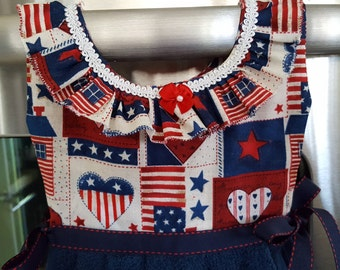 Americana USA Motif Red White Blue Kitchen Oven Door Dress Towel with Ruffles