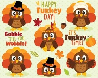 Clipart - Turkey Day Fun / Cute Thanksgiving Turkeys - Digital Clip Art (Instant Download)