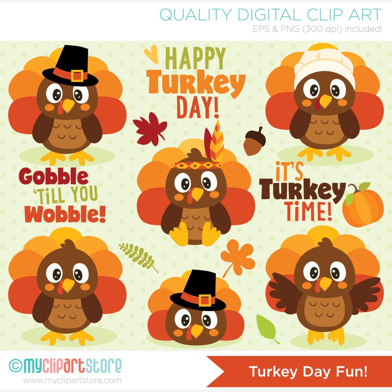 Clipart Turkey Day Fun / Cute Thanksgiving Turkeys Digital