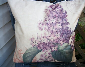 Purple Lilac Flower Pillow Cover, 18 x 18  Pillow Cover, French Chic Paris Home Decor Vintage Style Cottage Pillow Cover