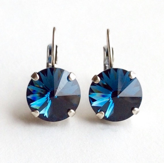 Swarovski Crystal 12MM Drop Earrings Classy & Feminine - Montana (Navy) - Or Choose Your Favorite Color and Finish -  FREE SHIPPING