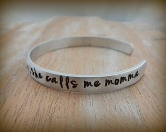 So there's this girl who stole my heart, she calls me momma - Stamped Mother Daughter Bracelet - Mother's Day Gift - mom - mommy - mama