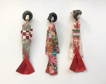 Origami paper vintage geishas japanese original 1960