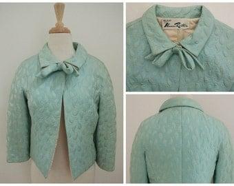 vtg 60s BILL BLASS for Maurice Rentner Plisse jacket sz 8 3/4 sleeves