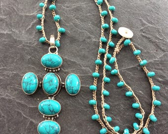 Turquoise crochet boho necklace - 'sign of the cross' -  cross pendant layering necklace - bohemian handmade jewellery by Mollymoojewels