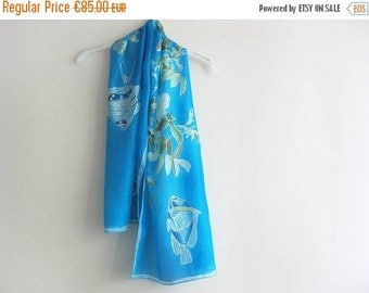 SALE Hand painted on silk Turquoise blue fishes and roses summer scarf - made TO ORDER