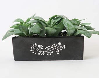 Original modern planter,catchall, black and white, hand painted porcelain, unique piece, gift for her or him, made in France