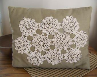 Primitive Shabby Pillow With Vintage Doily Cottage Decor