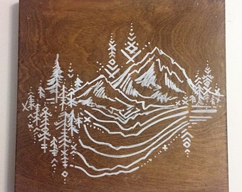 Mountain Design Handpainted on Wood // 'Mt Rainier Vibes'