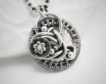 Sterling silver necklace - Wire wrapped pendant - Sterling and fine silver pendant